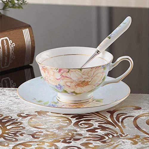 QYYDMKB Flower Bone China Teetasse Untertasse Löffel Set British Advanced Porzellan Kaffeetasse 200 ml Keramik Teetasse Blaue Blume Bone China Flower