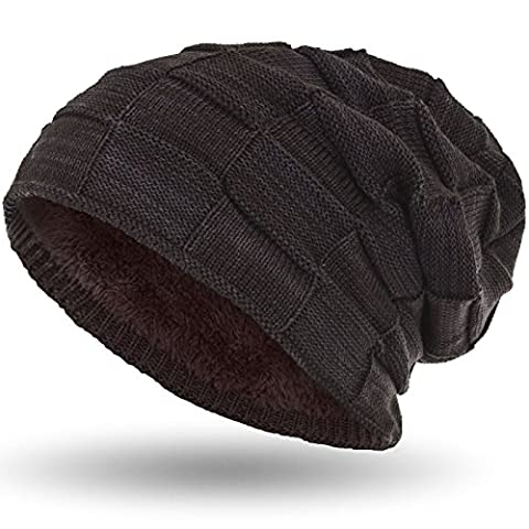 Compagno slouch beanie winter hat warmly lined woven pattern with soft fleece lining, Color:Grey Brown