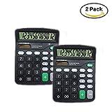 Calculadoras de escritorio estándar de 12 dígitos Juego de 2, Calculadora de oficina de doble potencia con pantalla LCD grande y botones grandes, calculadora de mano básica. (Negro)