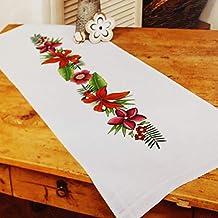 Kamaca - Kit de Punto de Cruz para Mantel (diseño de Lirios, de algodón