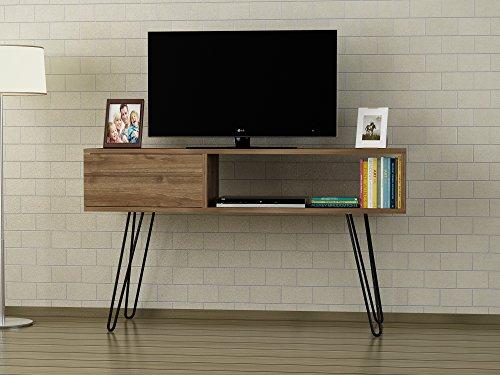 Alphamoebel TV Board Lowboard Fernsehtisch Fernsehschrank Sideboard, Fernseh Schrank Tisch mit Metallfüßen für Wohnzimmer I Walnuss I Lara4811 I 120 x 29,5 x 68,5 cm