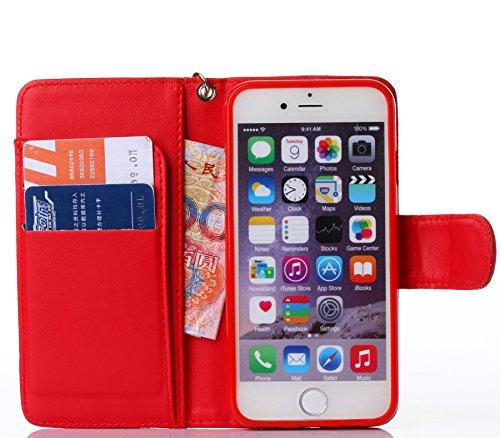 Pour iPhone 5C Coque, iNenk® Retro Une fleur Modèle Téléphone Coque PU Cuir Portefeuille Carte Chaîne Téléphone Coque Housse protection-Bleu rouge