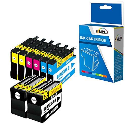 Fimpex Compatibile Inchiostro Cartuccia Sostituzione Per HP Officejet 6100 6600 6700 7110 7510 7610 7612 932XL 933XL (Nero/Ciano/Magenta/Giallo, 8-Pack)