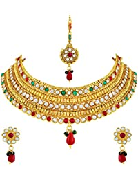 Asmitta Exquisite 3 Line Stone Gold Plated Choker Style Necklace Set With Mangtikka For Women
