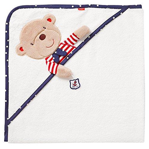 Fehn 078510 Kapuzenbadetuch Teddy - Bade-Poncho aus Baumwolle mit Teddy Motiv für Babys und Kleinkinder ab 0+ Monaten - Maße: 80x80cm Kleinkind-club