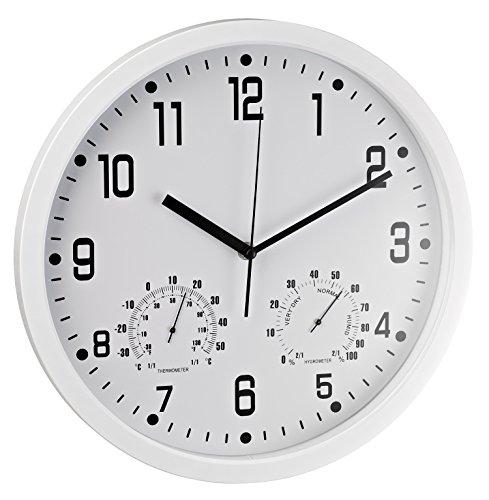 Alco 188-10 Wanduhr rund, 35 cm, weiß, mit Thermometer und Hygrometer