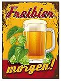 Metallschild nostalgisch Wand Bild Vintage Retro Bier Beer Werbeschild 42695 (Freibier)