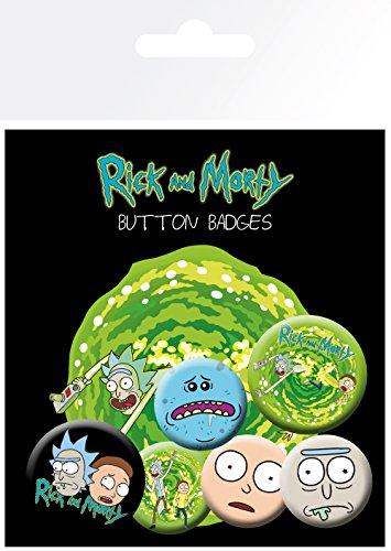 GB eye–Juego de chapas de Rick y Marty personajes, multicolor