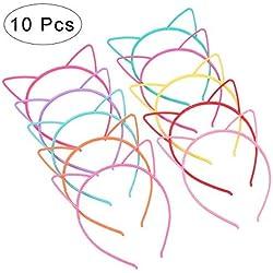 Frcolor 10 diademas con orejas de gato de plástico, disfraces o fiestas, mujeres y niñas