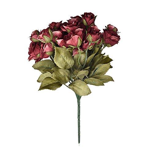 ZTTLOL 21 Kopf Seide Rose Künstliche Blume Hochzeit Hand Blumenstrauß Fake Blumen Hochzeit Home Party Dekoration, 05 (Voll Lavendel 21)