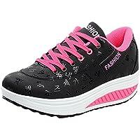 Zapatos deportes con correa para mujer,Sonnena casuales Zapatillas de deporte de moda casual para mujer Fondo de pisos Aumento de altura Cuñas oscuras Zapatos