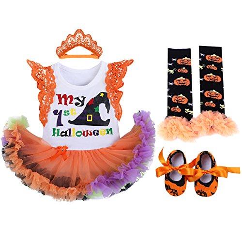 (OBEEII Baby Mädchen 1. Halloween Kostüm Kürbis Schädel Strampler Rüschen Tutu Rock mit Stirnband Beinwärmer Schuhe Weihnachten Cosplay Partei Kleid für Neugeborene Kleinkind 0-3 Monate)