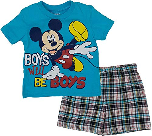 Disney Infant Baby Boys' Mickey Mouse Plaid Short Set with T-Shirt, Blue 12 Months