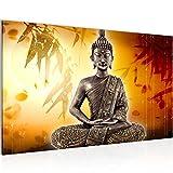 Bilder Buddha Wandbild Vlies - Leinwand Bild XXL Format Wandbilder Wohnzimmer Wohnung Deko Kunstdrucke 70 x 40 cm Orang 1 Teilig -100% MADE IN GERMANY - Fertig zum Aufhängen 500314b