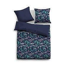 Tom Tailor 0069852 - Biancheria da letto in raso, copripiumino da 155 x 220 cm e federa da 80 x 80 cm, colore: blu indaco