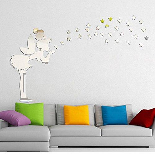 Yallylunn Angel Magic Fairy Stars 3D Mirror Wall Sticker Kid Bedroom Decoration Gift Abnehmbare Selbstklebend Tapete Schlafzimmer Wohnzimmer Moderne Hintergrund Tv DéCor