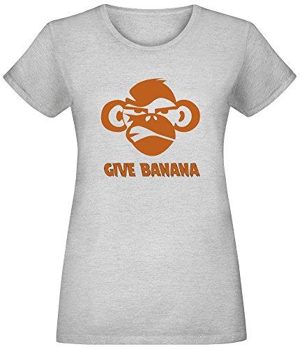 Gib Banane - Give Banana T-Shirt Top Short Sleeve Jersey for Women 100% Soft Cotton Womens Clothing Large -