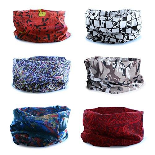 Datechip Multifuncional Headwear 12-in-1 Magic Bufanda Diadema Bandana UV Insectos Escudo Bufanda [Paisley] Muñequera, Pasamontañas Headwrap, Braga, Casco Liner 100% Microfibra set B/6-Pcs