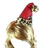 HPEDFTVC Weihnachten Hut Auf Stirnband Mit Blatt Spaß Liebe Frau Kit Geschenk Party Dekoration Rote Pailletten Material, Punkt Mit Zebra Ball