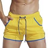 Dolamen Uomo Costume da Bagno Boxershorts, 2018 Mare Piscina Sport Slip Tronchi di Nuoto Pantaloncini Calzoncini Mutande, Con il Drawstring regolabile dentro tasche (Medium, Giallo)