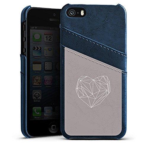 Apple iPhone 5s Housse Étui Protection Coque C½ur Amour Amour Étui en cuir bleu marine