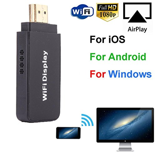 SO-buts Wireless Adapter/Wifi Adapter/Dual Core 1.2G + 128M Wireless Display Player/1080P HD für PC/Smartphone/iPad/TV/Projektor (Schwarz) Hdtv-multi-format Monitor