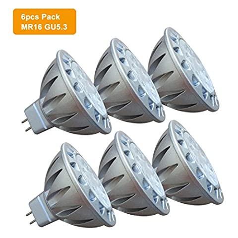 AlideTech Ampoules LED Spot GU 5.3 MR16 12V 50W Halogènes Incandescente Lumiere Equivalente, 7W Blanc Chaud 2700K Lampe à Led, Culot GU5.3, 560LM, Aluminium, 38°, Lot de 6 Unités