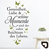 DESIGNSCAPE® Wandtattoo Gesundheit Liebe Momente   Spruch Lebensweisheit 46 x 80 cm (Breite x Höhe) Farbe 1: braun DW801699-S-F9