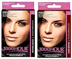 Combo Pack 1000 Hour Eyelash & Brow Dye / Tint Kit Permanent Mascara (Black & Dark Brown)