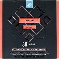 Amazon Brand- Happy Belly  Espresso Roast & Ground UTZ Coffee in Nespresso compatible compostable capsules, 30 capsules