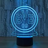 Multi Led Deutsch Fußball Team Bvb Nachtlicht Fußball Club 3D Illusion Tischlampe Farbwechsel Luminaria Touch Lichter