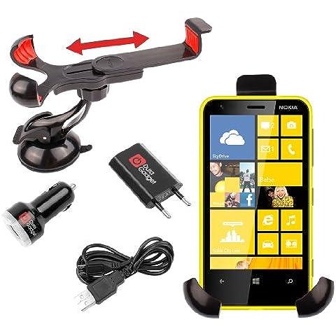 DURAGADGET Soporte Coche Extensible/ Giratorio Con Succión Al Parabrisas Para Nokia Lumia 620 / 525 / 929 / 1020 /925 + Kit Cargador Coche + Cable microUSB + Cargador Europeo De Red