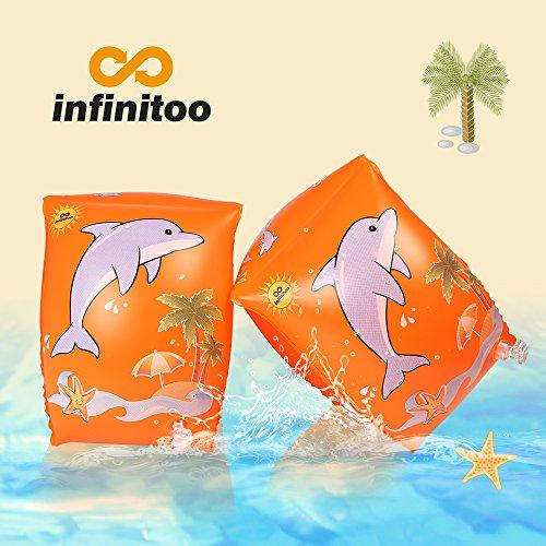 Schwimmflügel, infinitoo Schwimmhilfe, Schwimmreifen Schwimmen Armbands für Kinder und Kleinkinder von 2-6 Jahre, 15-30kg, Schwimmscheiben mit Delphin Design für Schwimmbad, Pool, Strand etc