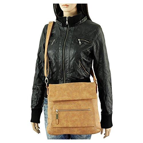 Ledershop24, Borsa a tracolla donna grigio grau cognac