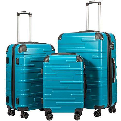 COOLIFE Hartschalen-Koffer Rollkoffer Reisekoffer Vergrößerbares Gepäck (Nur Großer Koffer Erweiterbar) ABS Material mit TSA-Schloss und 4 Rollen(Türkisblau, Koffer-Set)