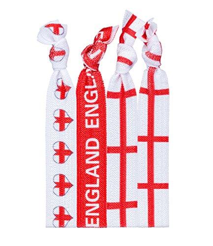 SIX England Fanartikel, 4er Set Unisex Textil Armbänder, Haarbänder, mit Englischer Flagge, Herz, Rot, Weiß (748-323)