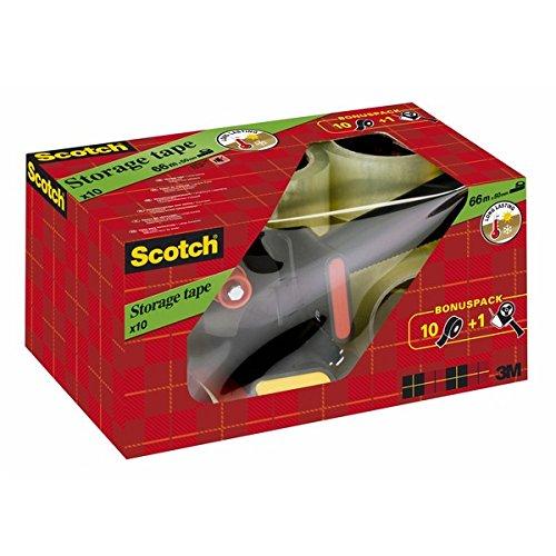 Scotch 309R10D Handabroller inkl. 10 Rollen Verpackungsklebeband transparent 50 mm x 66 m