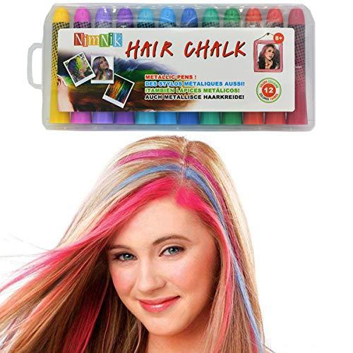 Colori capelli lavabili temporanei - gessi colorati per capelli non-tossici | set 12 colori regali per bambina 6 7 8 9 10 anni natale feste compleanno | tintura ciocche gessetti capelli adulto