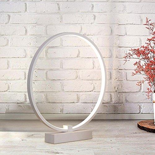 Aluminium-finish-tisch-lampen (LIVY Kreative aus Aluminium Tischlampe, moderne Art Nachttischlampe einfaches Schlafzimmer trendy Circle LED Tisch & Nachttisch Lampe, 30cm)