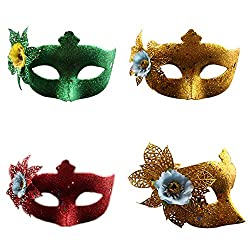 Flyingsky Eye Mask Fancy Dress Accessory Princess Feather Lace for Party Ball (Pack of Two)