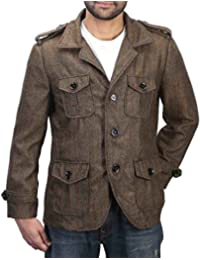 Bareskin men's brown self-woven woolen coat