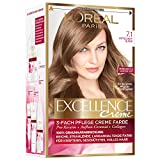 L'Oréal Paris A1499805 Excellence Creme Coloration Haarfarbe, 7,1 - Mittelaschblond, 3er Pack