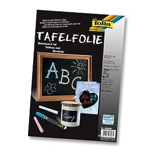 Folia 390490 - Tafelfolie 135µ, 5 Blatt, 23x33 cm, schwarz, selbstklebend