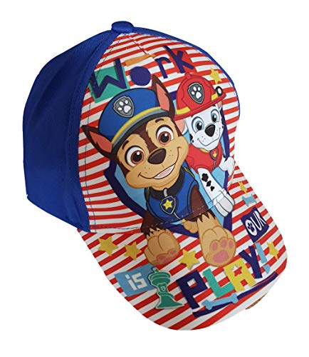 Paw-Patrol Kappe, Kappy, Baseball Cap mit den Hunden Chase und Marshall Work is Our Play!, aus 100% Baumwolle, für Kinder (54, Blau)