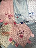 Just Toys Online Personalised Embroidered Baby Boy or Girl Dimple Comforter Blanket Blankie With Tags Newborn Gift Or Keepsake ADD NAME Satin Taggie Ribbons