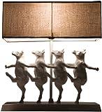 Tischleuchte Dancing Cows, moderne, lustige Nachttischlampen tanzende Kühe aus Polyresin, Deko-Designlampe, weiß-beige (H/B/T) 43,5x40,5x11,5cm