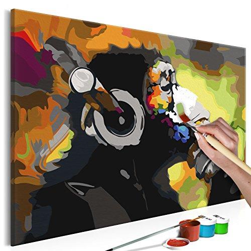 murando - Malen nach Zahlen Banksy AFFE Musik 60x40cm Malset DIY n-A-0274-d-a