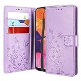 CMID Cover Galaxy A10, PU Cuoio Portafoglio Custodia Libro Antiurto in Piedi Protettiva [Carta Credito] Case per Samsung Galaxy A10 (Viola)