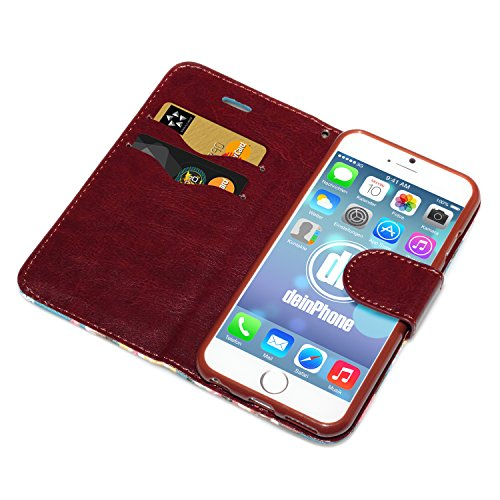 deinPhone Apple iPhone 6 (4.7) Case rosa blu con fiori blu chiaro