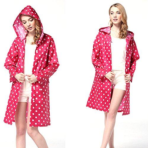 Mavis's Diary Femme Manteau Imperméable Vêtements de Pluie Tissu à Polyester PU Adhésif Taille Unique rose carmin